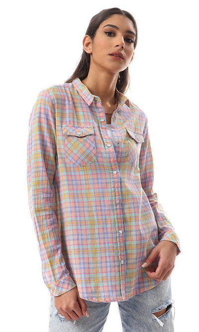 57150 Colorful Tartan Shirt With Front Pockets