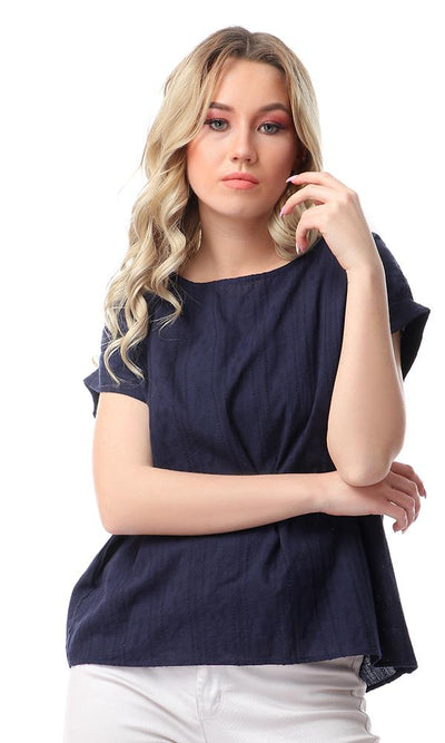 57163 Simple Solid Cape Sleeves Navy Blue Top - Ravin