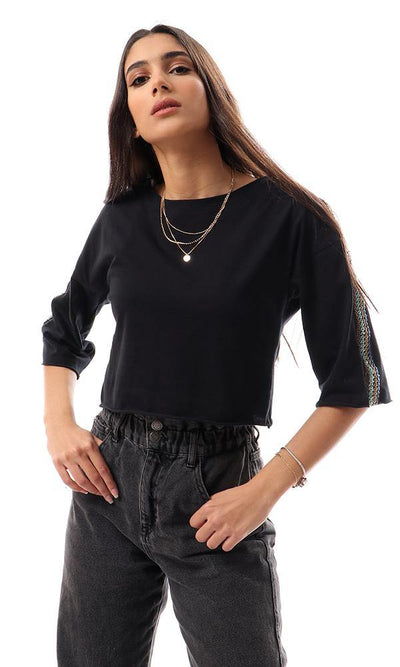57180 Stitched Sequins Elbow Sleeves Black Cropped Tee - Ravin
