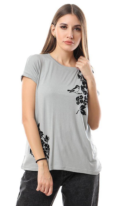 57181 Black Printing Casual Round Loose Grey Tee - Ravin