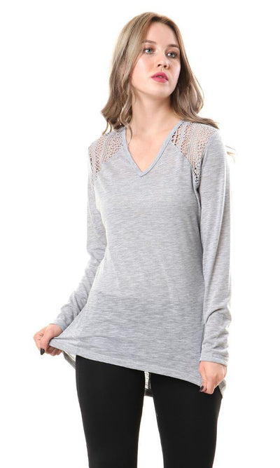 57190 Heather Comfy Top With Lace Accent - Light Grey - Ravin