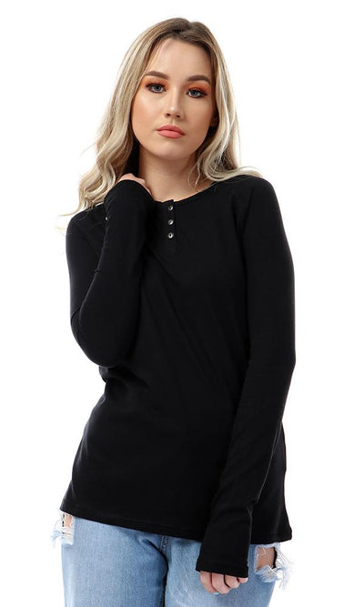 57198 Simple Buttoned Full Sleeves Black T-shirt - Ravin