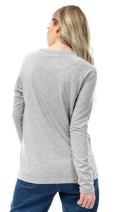 57199 Soft Comfy Heather Light Grey Buttoned T-shirt - Ravin