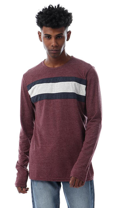 57215 Chest Striped Long Sleeves Heather Burgundy T-shirt - Ravin