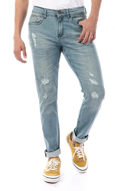 57290 Front Ripped Slim Fit Light Blue Jeans - Ravin