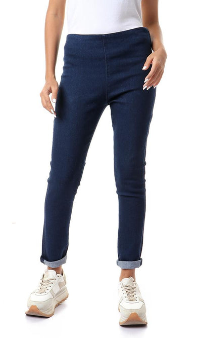 57292 Side Zipper Solid Skinny Jeans - Dark Blue - Ravin