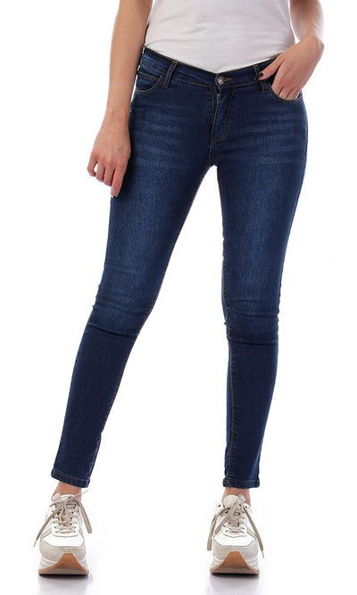 57304 Light Wash Solid Dark Blue Jeans - Ravin