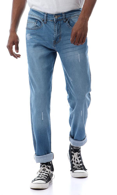 57327 Scratched Washed Fly Zip Light Blue Slim Jeans - Ravin