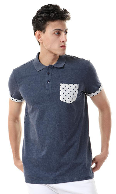 57340 Squares Pocket Buttoned Polo Shirt - Heather Navy Blue - Ravin