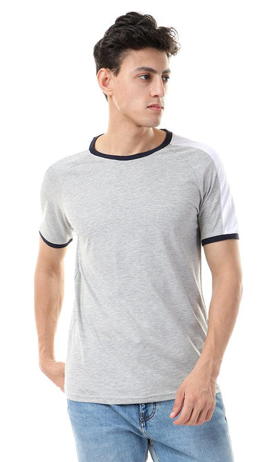 57345 Heather Grey Casual Tee With White Shoulders
