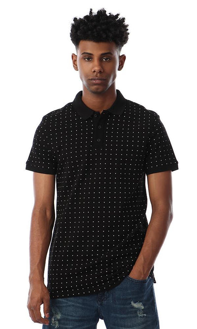 57357 Dotted Turn Down Collar Black Polo Shirt - Ravin