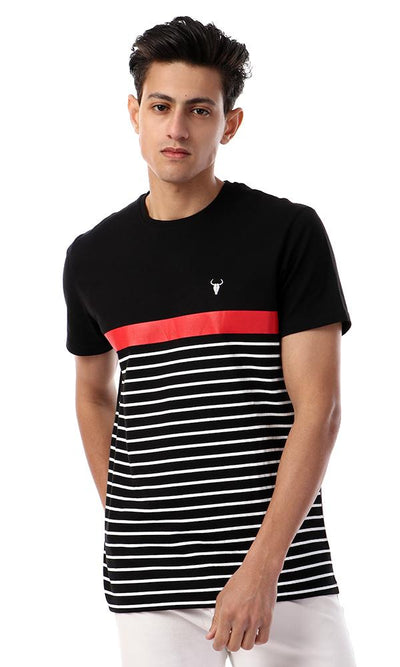 57368 Printed Striped Black & White Elegant T-shirt - Ravin