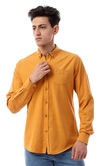 57400 Button Down Full Sleeves Plain Shirt - Mustard