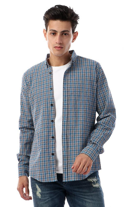 57407 Button Down Full Sleeves Plaids Shirt - Blue , Black & White - Ravin