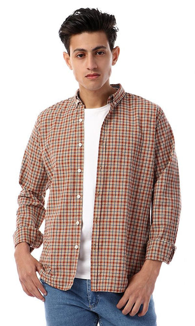 57408 Button Down Full Sleeves Plaids Shirt - Goldenrod , Navy Blue & Red
