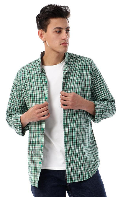 57409 Button Down Full Sleeves Plaids Shirt - Green , Black & White - Ravin