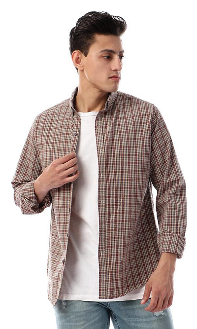 57410 Button Down Full Sleeves Plaids Shirt - Coral , Black & Beige