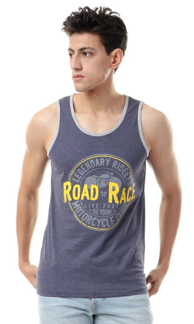 "57412 ""Road Race"" Heather Navy Blue Tank Top - Ravin"