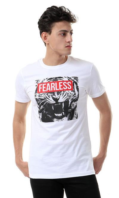 "57479 ""Frealess"" Printed White Casual Tee"