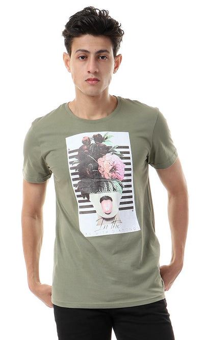 57484 Floral Head With Stripes Olive T-shirt