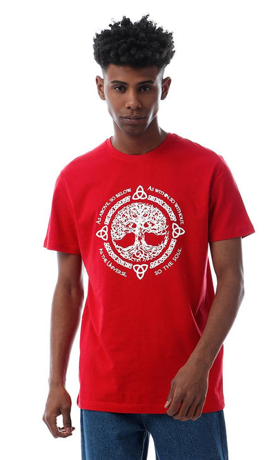 57534 Life Tree Printed Slip On Red T-shirt