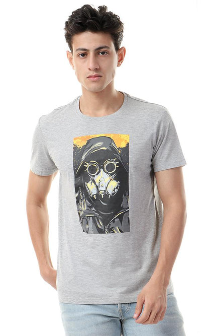 57541 Heather Grey With Front Print Casual Tee