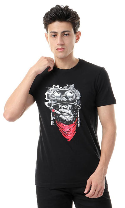 57547 Cool Print Rounbd Neck Black T-shirt