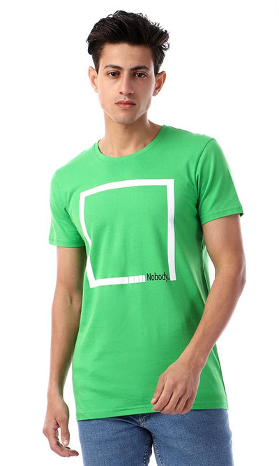 57556 Rounded Collar With Short Sleeves Green T-Shirt - Ravin
