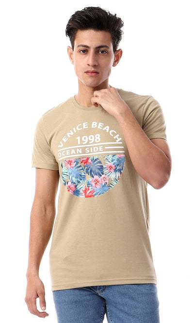 "57573 ""Venice Beach"" Khaki Slip On Printed T-Shirt - Ravin"