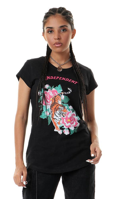 "57581 Printed ""Independent"" Cap Sleeves Black Tee - Ravin"