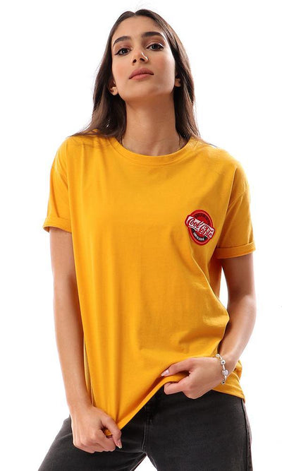 57590 Front Patch With Back Print Mustard Tee - Ravin
