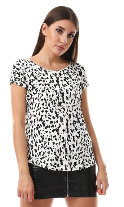 57666 Animal Print Round Hem Top - Black & White - Ravin