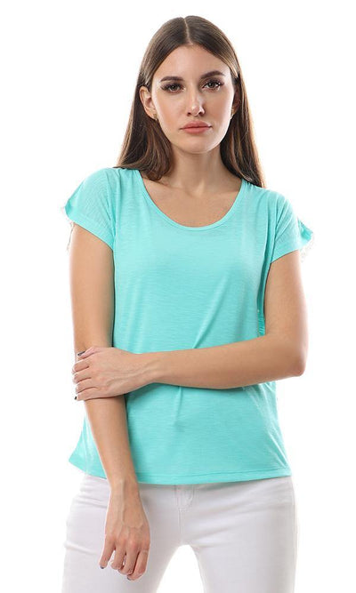 57673 Back Lace Simple Leightweight Mint Top - Ravin