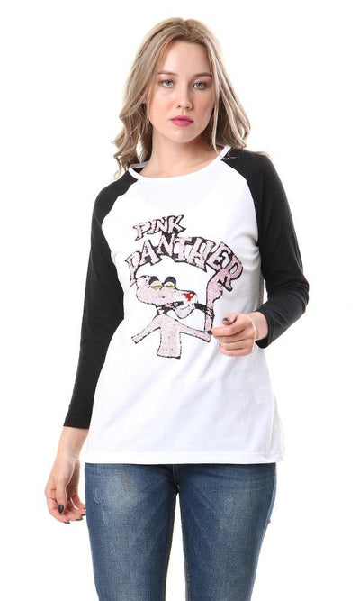 57696 Bi-Tone Long Sleeves Pink Panther Tee - Black & White - Ravin