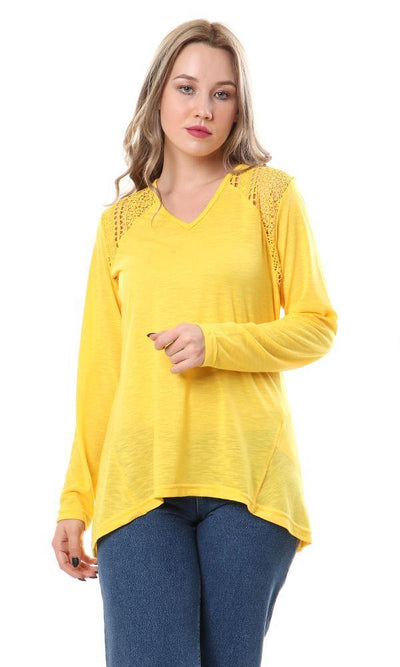 57705 Heather Comfy Top With Lace Accent - Light Grey - Ravin