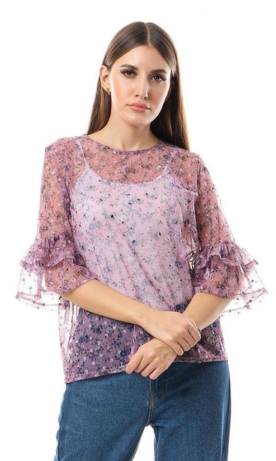 57710 Cheer Bell Sleeves Floral Mauve Bloue - Ravin