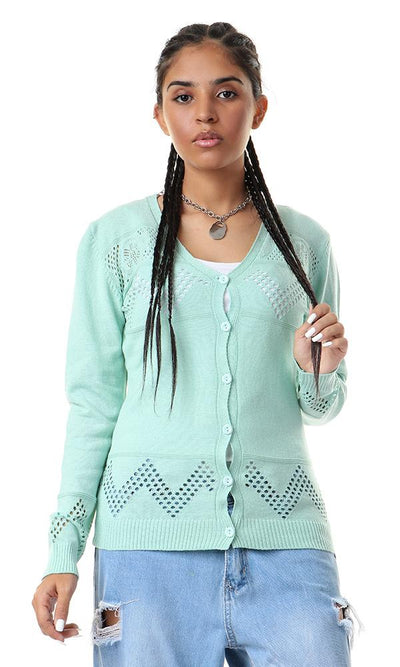57728 Perforated Buttoned Mint Green Cardigan - Ravin
