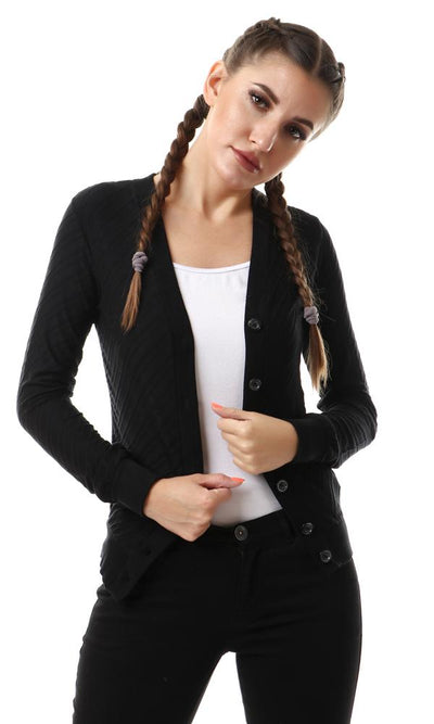 57729 Self Striped Buttoned Black Cardigan With Hem - Ravin