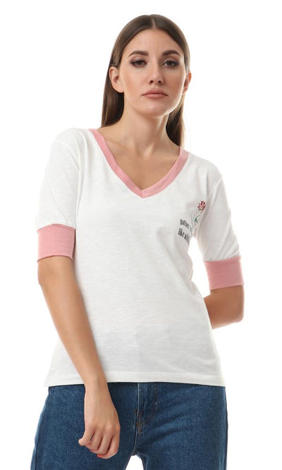 "57739 ""Gather Courage Like Wildflowers"" V-Neck Tee - Offwhite & Cashmere - Ravin"