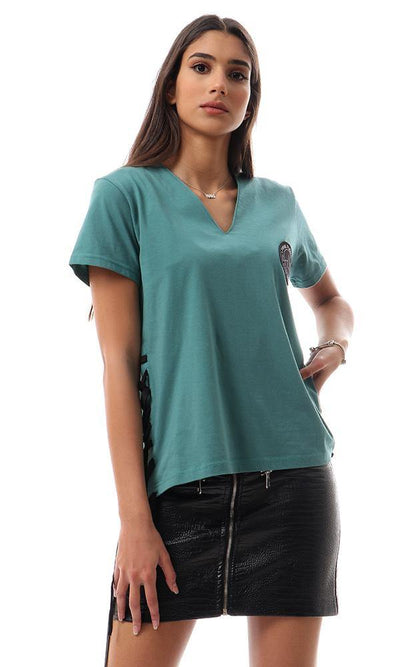 57754 Side Lace Up V-Neck Loose Tee - Jade Green - Ravin