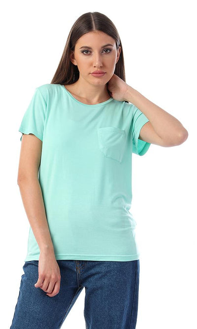57765 Basic Solid Tee With Front Pocket - Aquamarine - Ravin