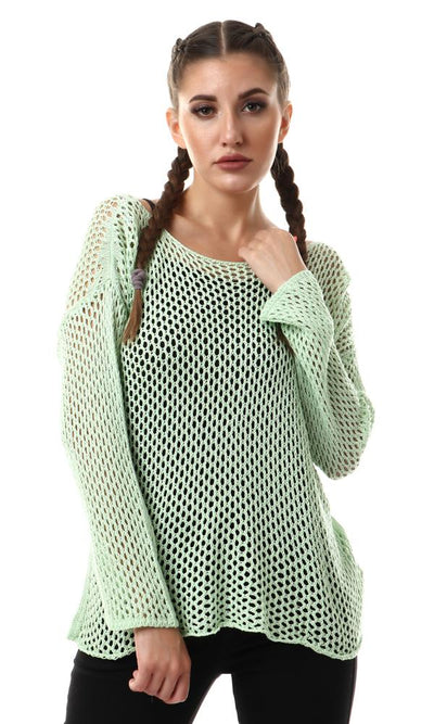 57790 Lime Perforated Knit Long Sleeves Sweater - Ravin