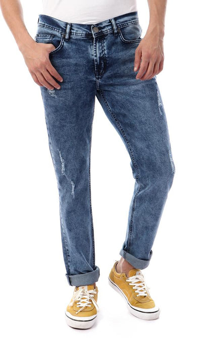 57792 Acid Wash Blue Slim Fit Casual Jeans - Ravin