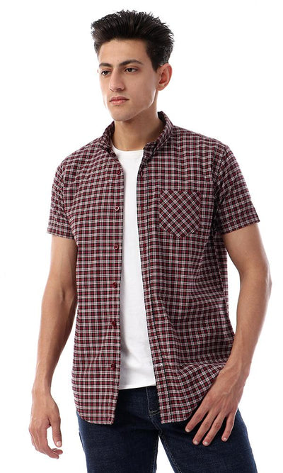 57801 Tartan Buttons Down Short Sleeves Shirt - Dark Red & Black