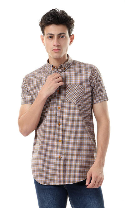 57802 Plaids Short Sleeves Mustard & Navy Blue Shirt