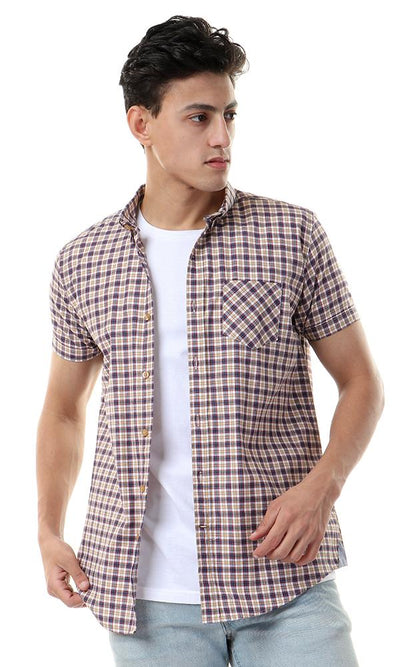 57803 Plaids Short Sleeves Beige & Navy Blue Shirt