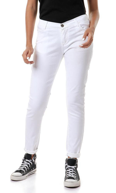 57808 Solid Skinny Fit White Casual Jeans