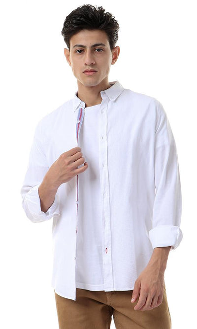 57862 White Long Sleeves Self Pattern Shirt