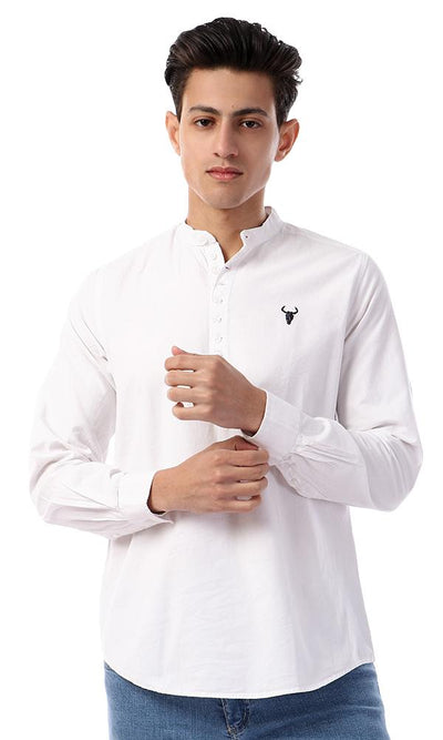 57882 Plain White Mandarin Collar Buttoned Shirt - Ravin