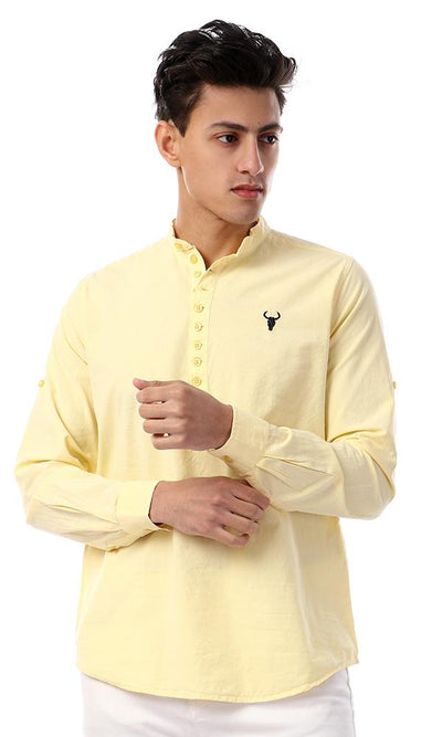 57890 Front Buttoned Full Sleeves Solid Shirt - Light Yellow - Ravin